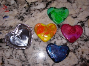 I used cupcake tins to mold new crayons from old ones